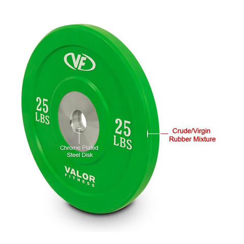 Valor Fitness XBP XBumper Plates 25 Lbs Rubber Mixture