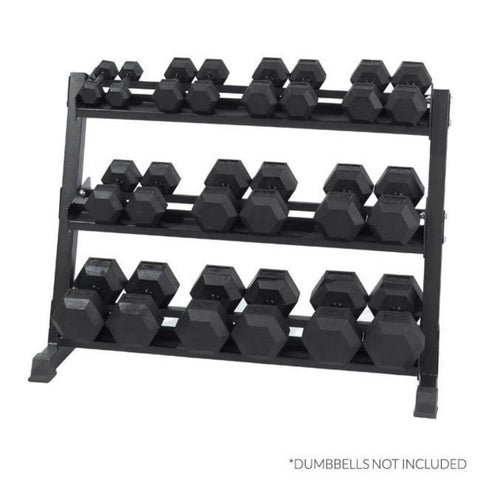 Image of Xtreme Monkey XM-5012 3-Tier Dumbbell Storage Rack Front View With Hex Dumbbells