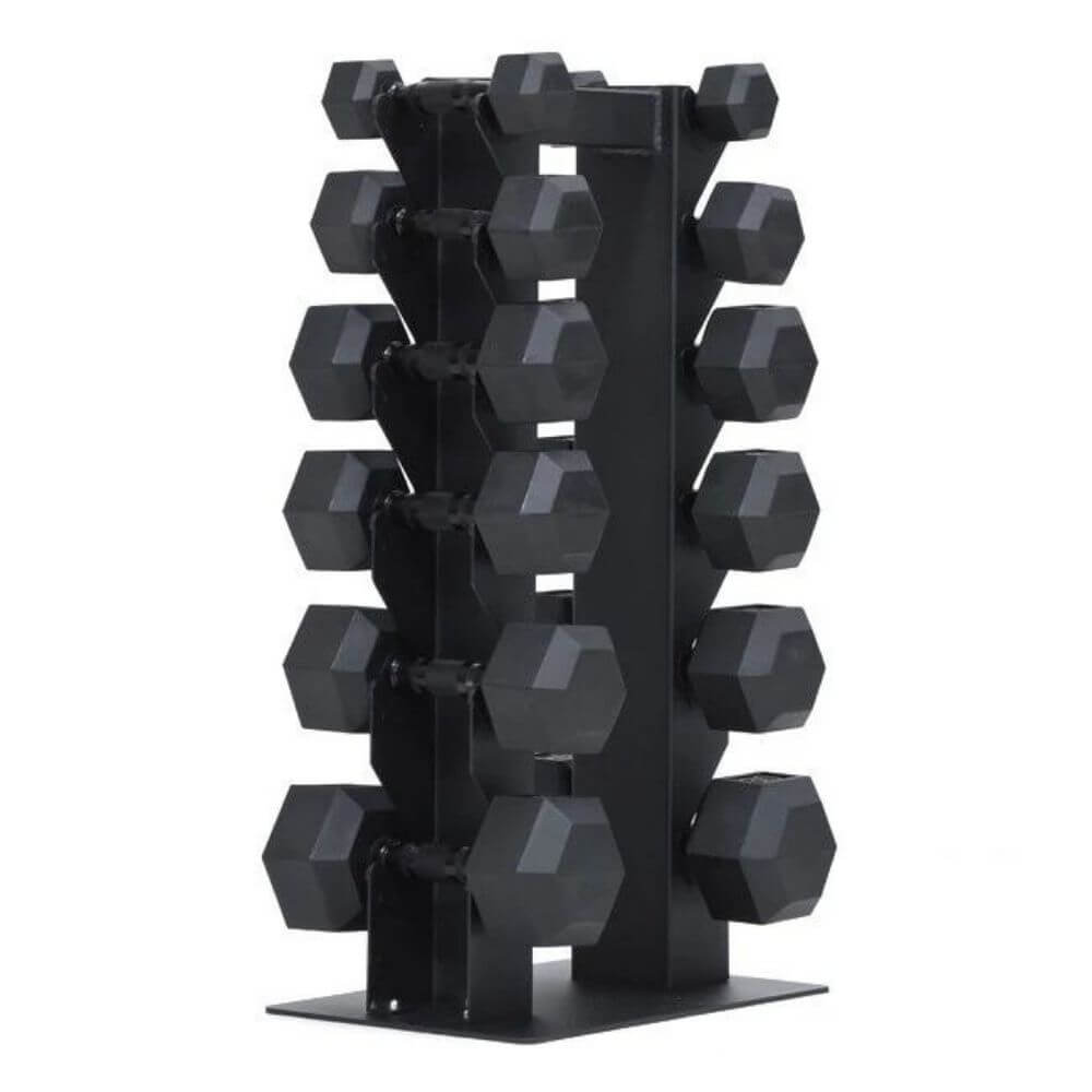 Xtreme Monkey XM-5164 Vertical Dumbbell Rack 3D View With Hex Dumbbells