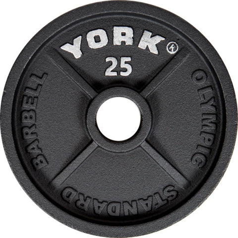 York Barbell 2 Inch Cast Iron Olympic Plates - 25lb Plate