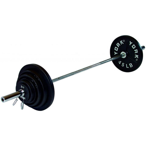 York Barbell 300lb Deep Dish Cast Iron Olympic Set 3D View