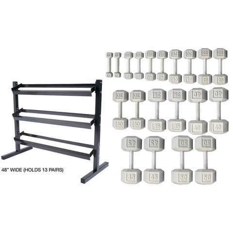 York Barbell 5-50lb Cast Iron Dumbbells with 3 Tier Rack