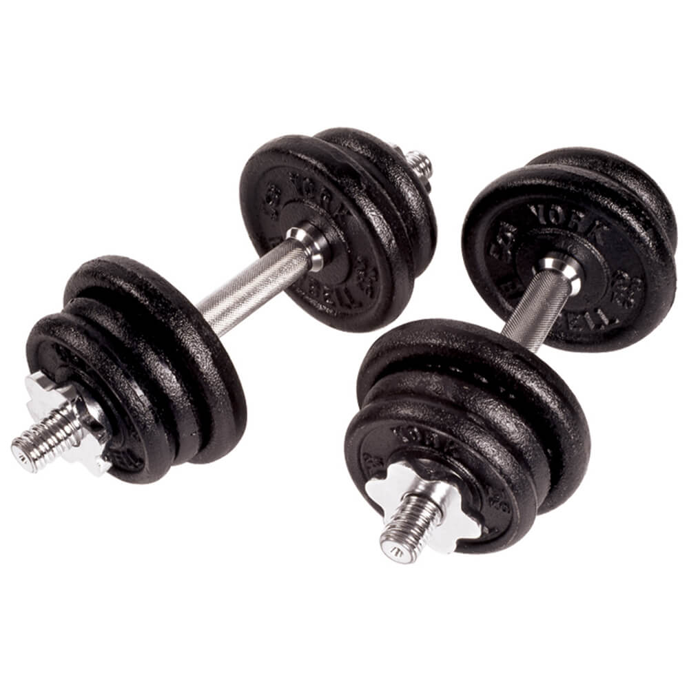 York Barbell Black Cast Iron Dumbbell Sets 3D View