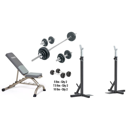York Barbell In-Home SquatBench and Dumbbell Package