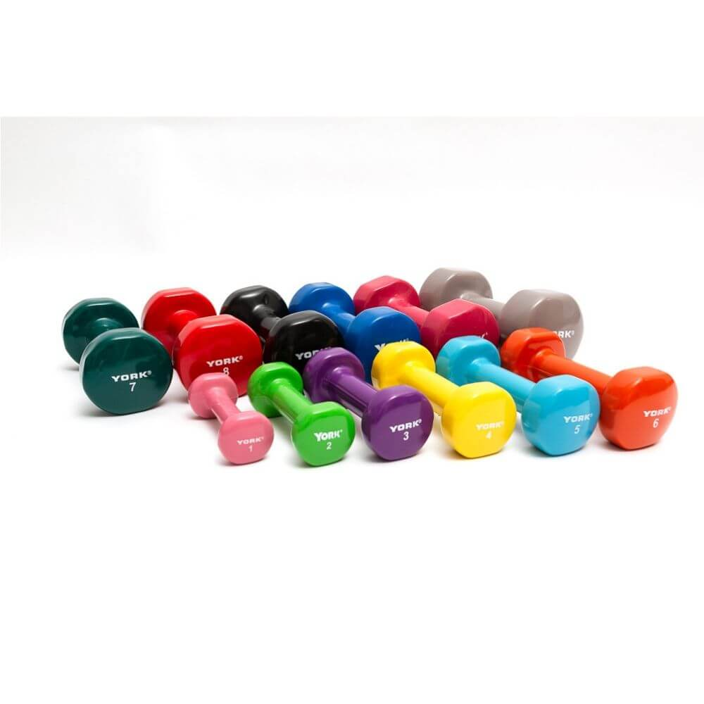 York Barbell 15000 Multi-Color Vinyl Fitbells