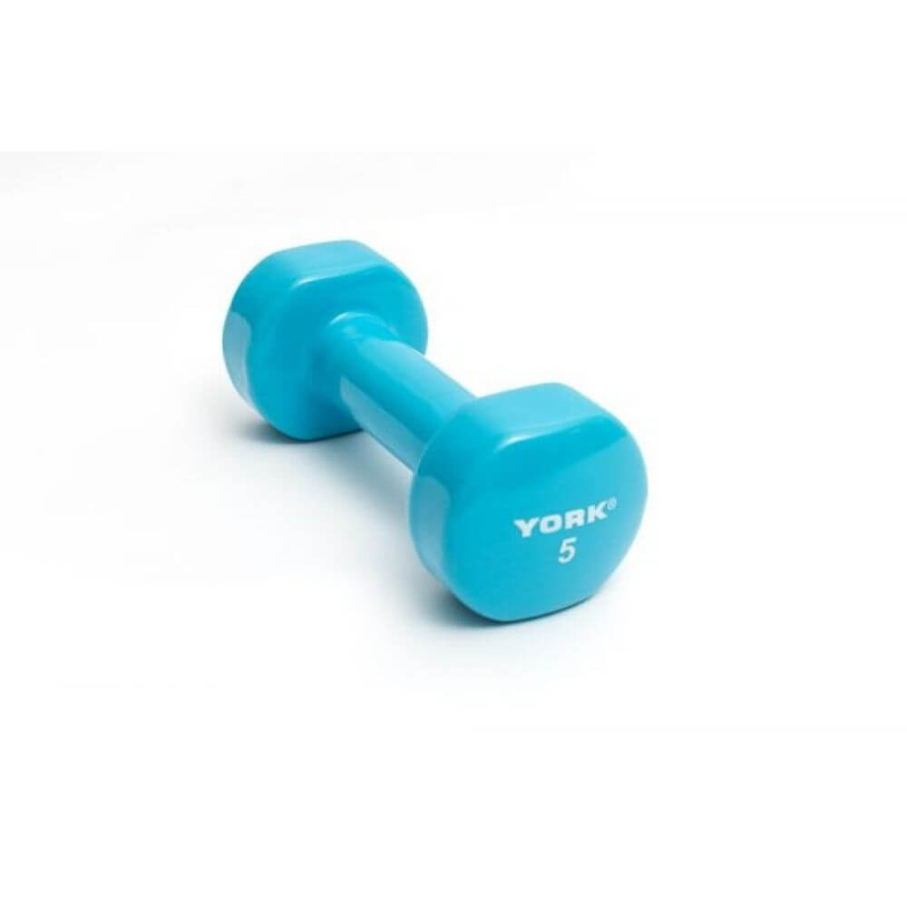 York Barbell 15000 Multi-Color Vinyl Fitbells 5lbs - Light Blue
