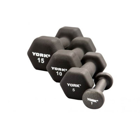York Barbell 15601 Black Neoprene Hexagon Fitbells