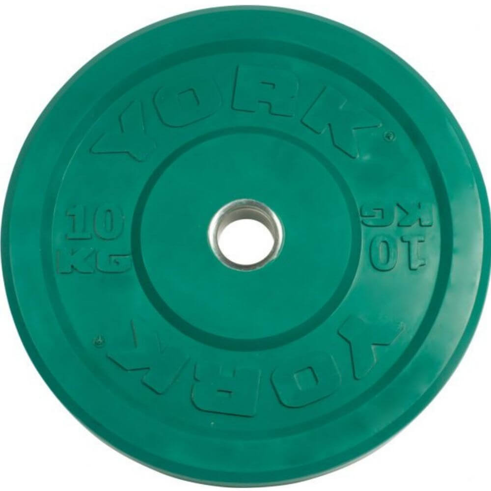 York Barbell 28091 USA Colored Rubber Bumper Plates (KG) 10