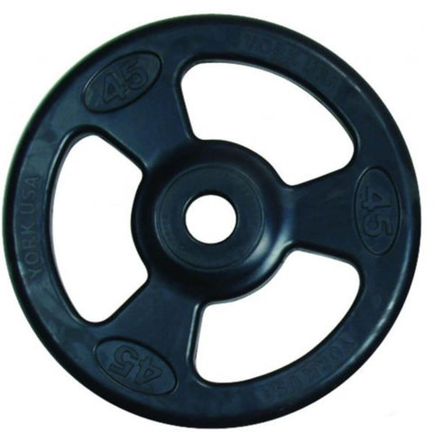 York Barbell 29020 Iso-Grip Rubber Encased Steel Olympic Plates Single