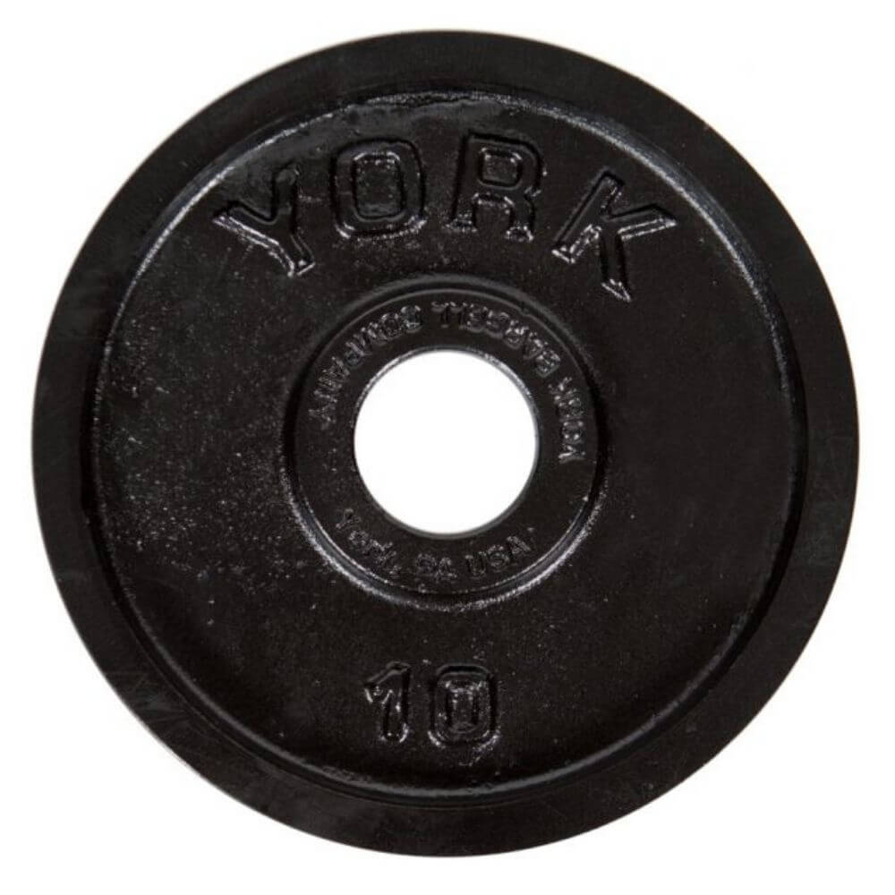 York Barbell 29030 Legacy Cast Iron Precision Milled Olympic Plates 10