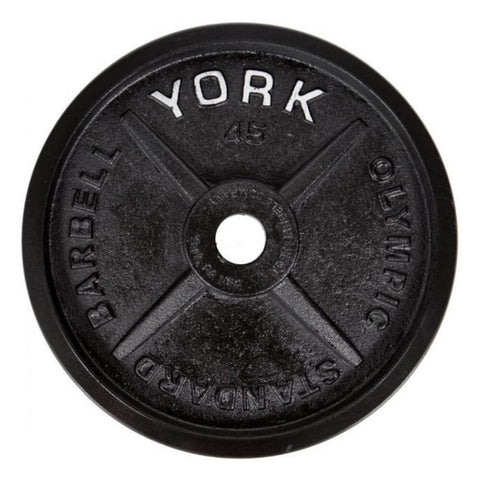 York Barbell 29030 Legacy Cast Iron Precision Milled Olympic Plates 45