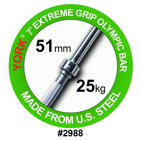 York Barbell 2988 7' Extreme Grip Olympic Bar