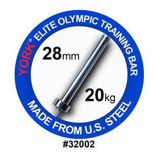 York Barbell 32002 Men's Elite Competition 20kg Olympic Training Bar