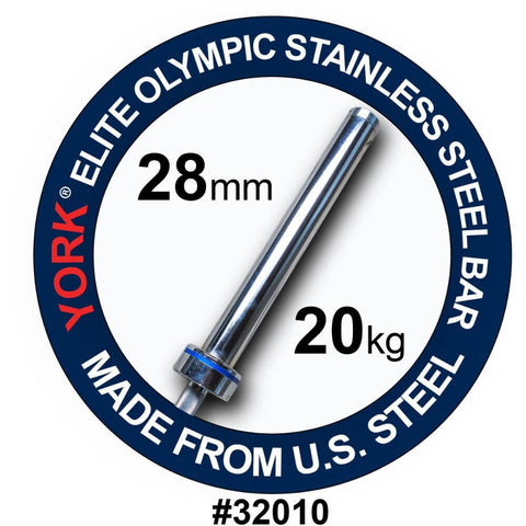 York Barbell 32010 Men's Elite Stainless Steel 20kg Bar