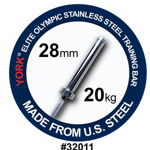 York Barbell 32011 Men's Elite Stainless Steel 20kg Training Bar