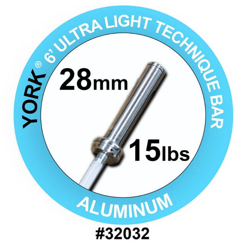 York Barbell 32032 Ultra-Lite 6' Aluminum Bar