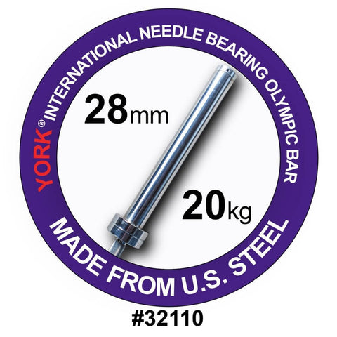 York Barbell 32110 North American Men's Needle Bearing Olympic Training Bar