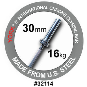 York Barbell 32114 6' International Chrome Olympic Bar