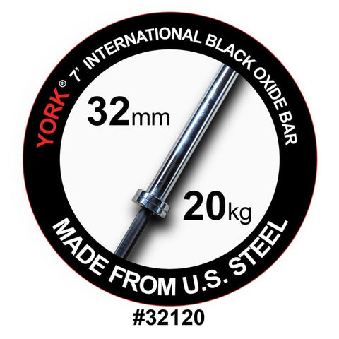 Image of York Barbell 32120 7' NA Black Oxide 2000lb Olympic Bar