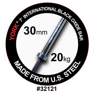 York Barbell 32121 7' NA Black Oxide 1500lb Olympic Bar