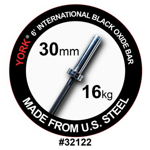 York Barbell 32122 6' International Black Oxide Olympic Bar