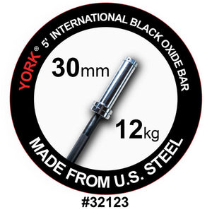 York Barbell 32123 5' International Black Oxide Olympic Bar