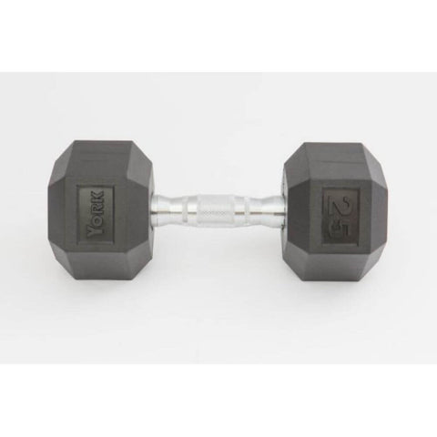 York Barbell 34050 Rubber Hex Dumbbell Front View