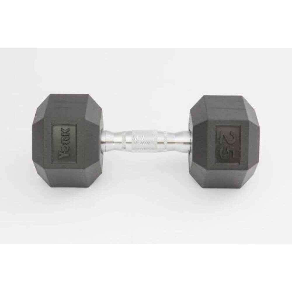 York Barbell 34090 Rubber Hex Dumbbell Set Front View