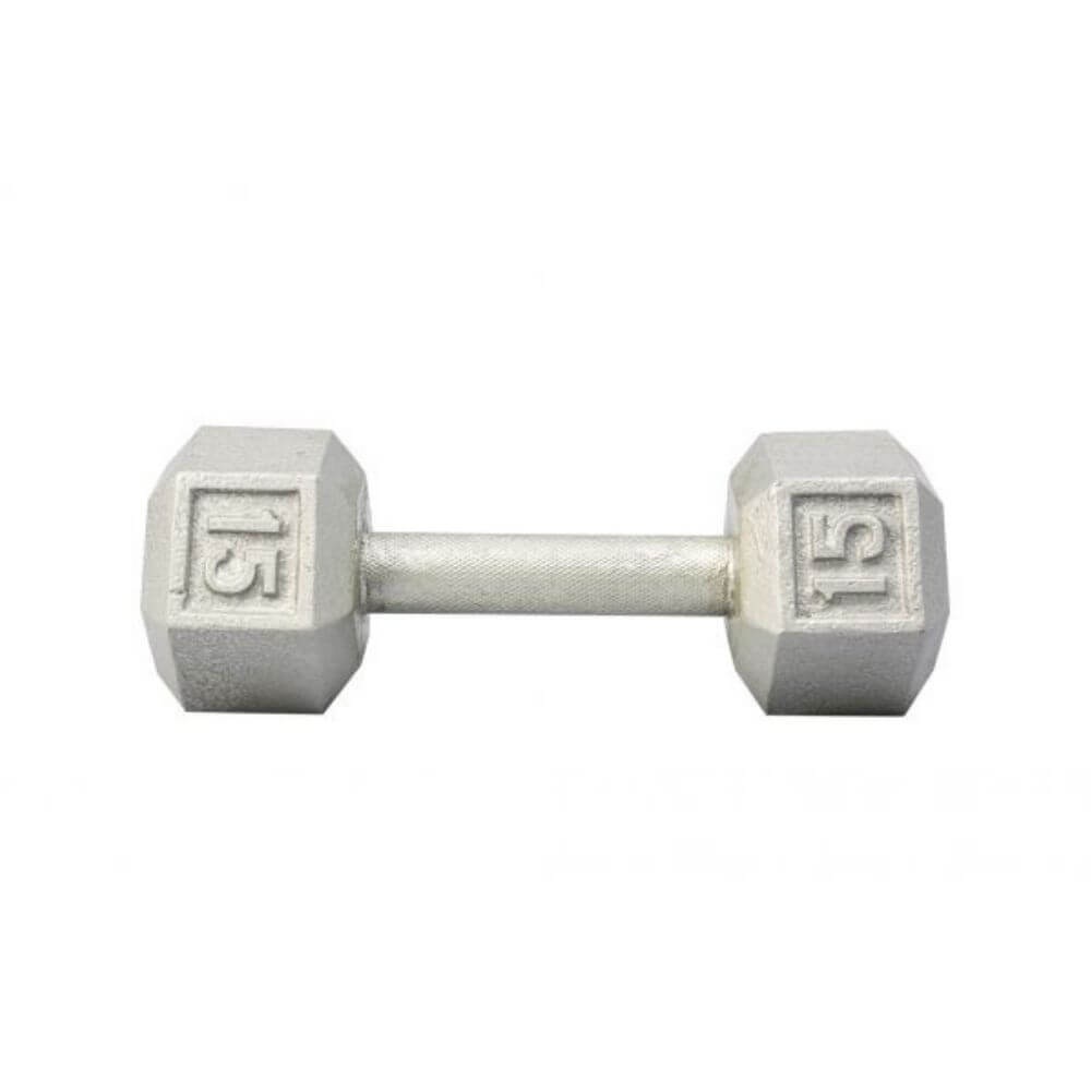 York Barbell 3461 Cast Iron Hex Dumbbells 15lb