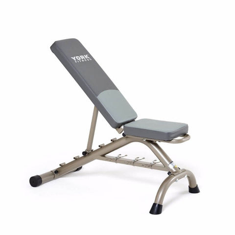 York Barbell 45071 Multi Position Fitness Bench With Fitbell Storage Incline At 3rd Level