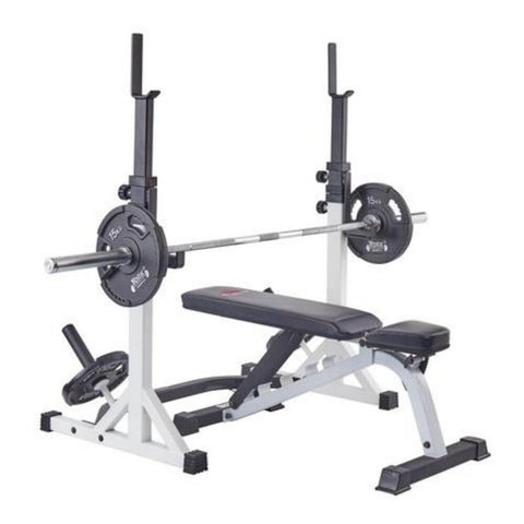 Image of York Barbell 48057 FTS Press Squat Stands With Bench