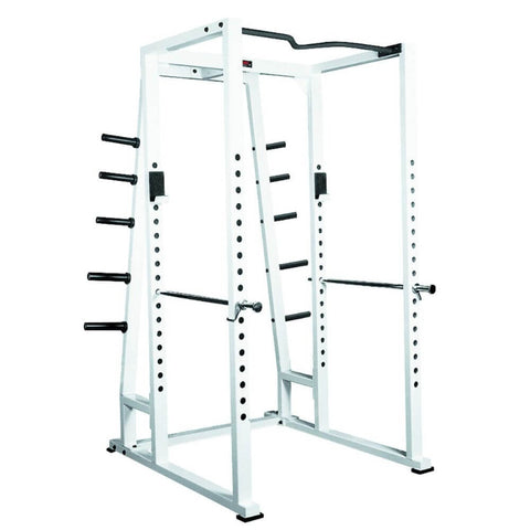 Image of York Barbell 54030 STS Power Rack w Weight Storage White