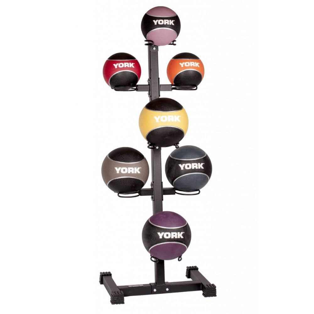 York Barbell 65103 7-Ball Vertical Medicine Ball Storage Rack With Balls