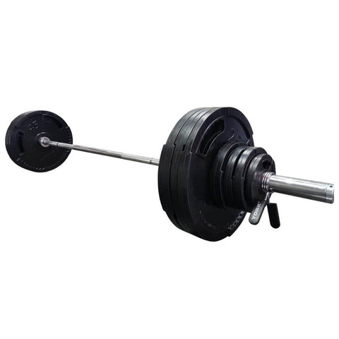 York Barbell 29084 G-2 Rubber Encased Olympic Plate & Barbell Set 3D View