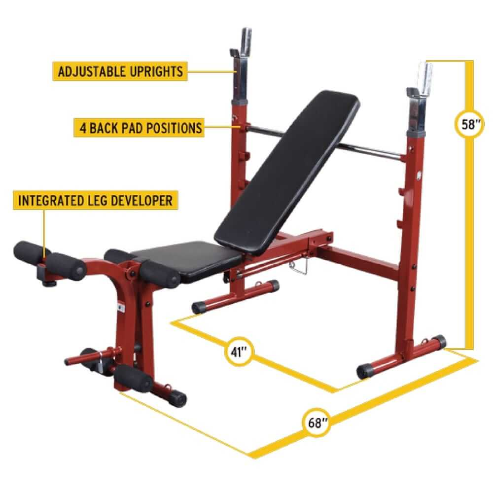 Best Fitness BFOB10 Folding Olympic Bench with Leg Developer Dimension