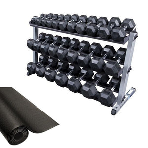 Body-Solid Rubber Hex Dumbbell 5-70lb Package