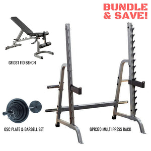 Body-Solid GPR370 Complete Gym Package GFID31 FID Bench OSC Plate & Barbell Set