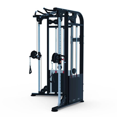 "Muscle D Fitness 88"" Dual Adjustable Pulley Functional Trainer Side View  NEW 2020"