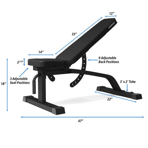 Synergee Adjustable FID Workout Bench Dimensions