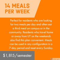 University Towers 14 Meal Plan - Full Payment and Deposit Payment Options