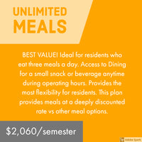University Towers Unlimited Meal Plan - Full Payment and Deposit Payment Option