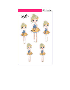 Beth Doll sticker sheet or die cuts blue and yellow dress