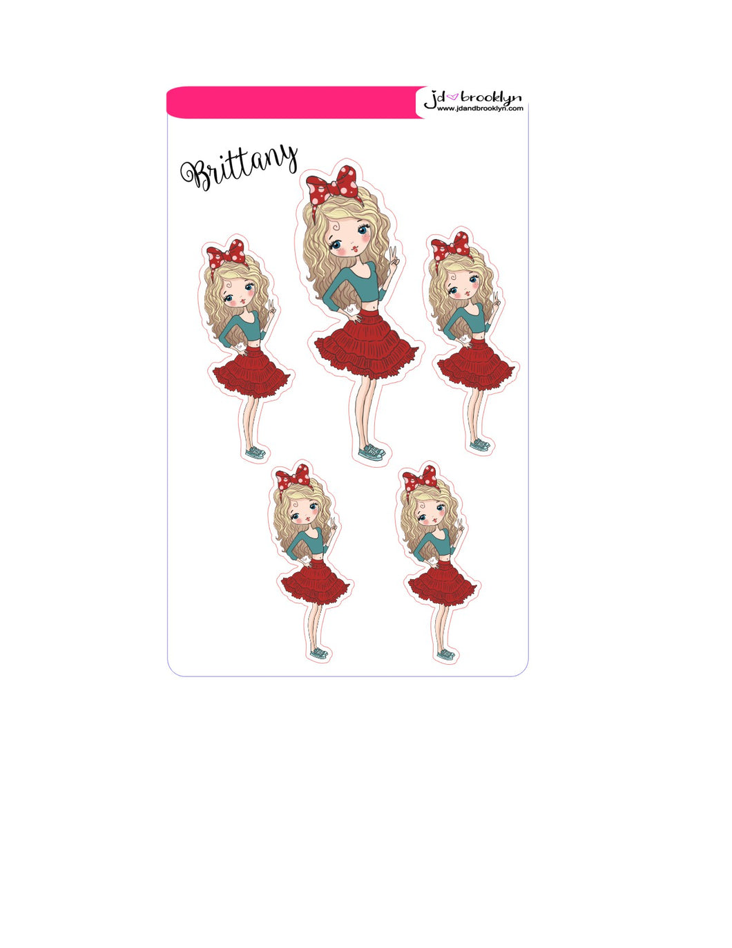 Brittany Doll sticker sheet or die cuts red skirt