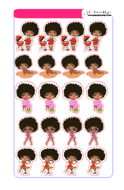 Doll Sampler 2 chibi style sticker sheet