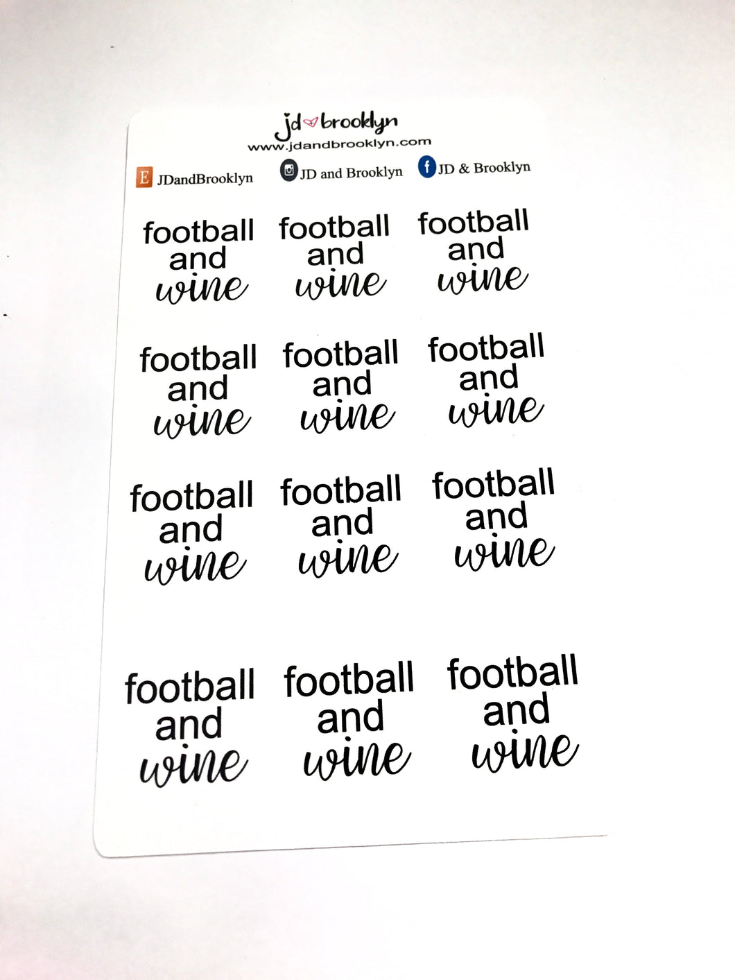 Football & Wine Sticker Sheet