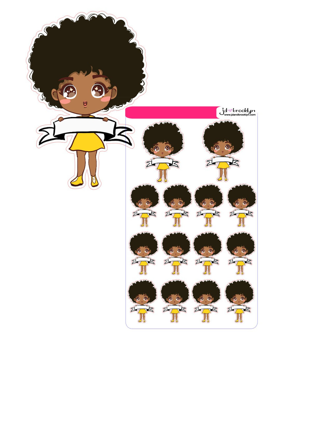 Doll holding blank sign chibi style (can be personalized)