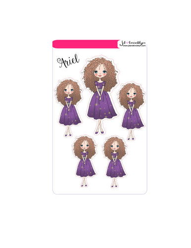 Ariel Doll sticker sheet or die cuts purple dress
