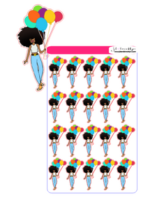 Big Hair doll with balloons celebration sticker sheet or die cuts