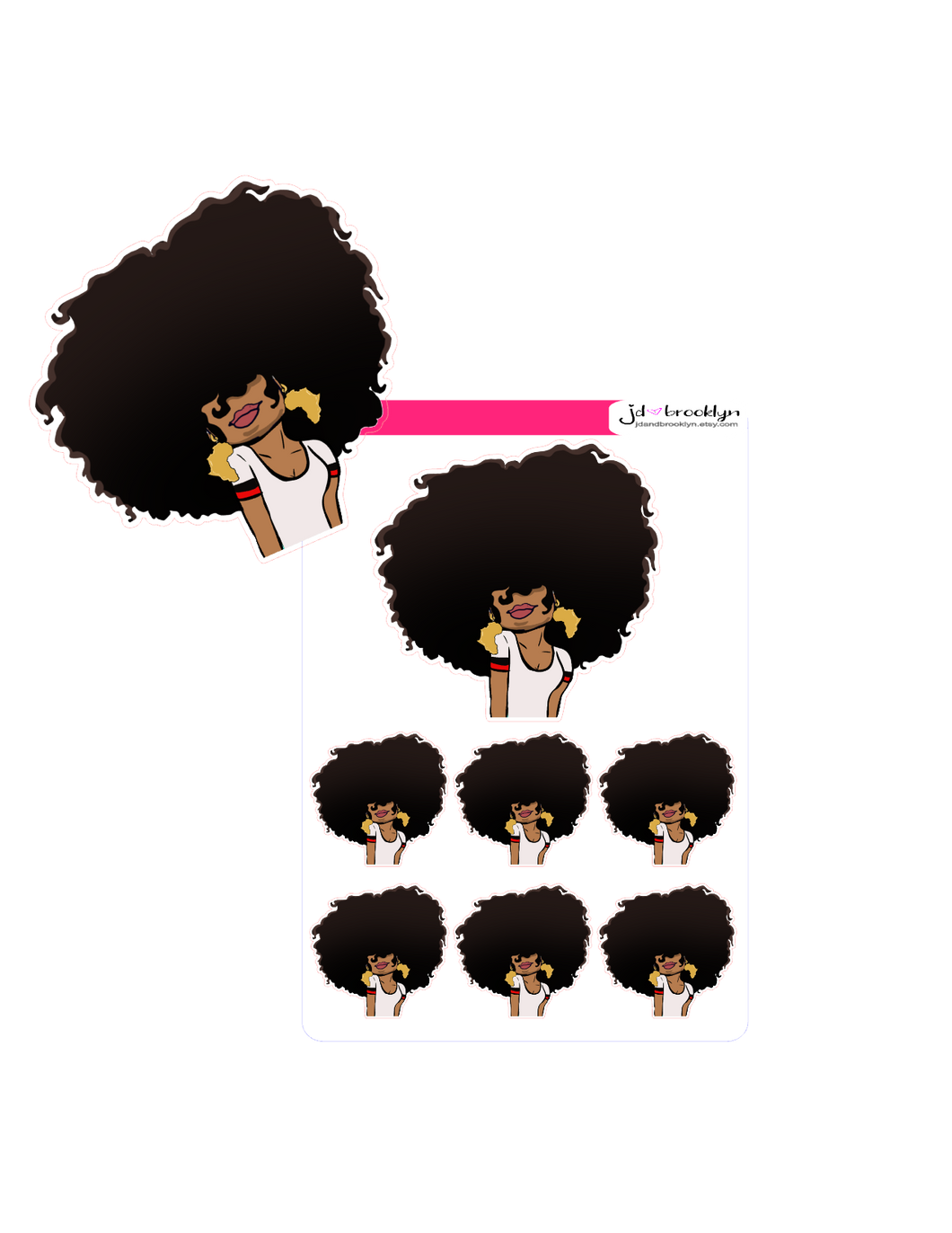 Big hair with africa shaped earrings
