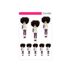 Big afro hairstyle doll - Fall/Winter Fashion Sticker sheet or die cuts